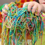 sensory play colored pasta