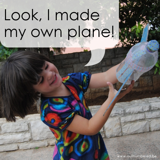 Plane out of cardboard and plastic bottle