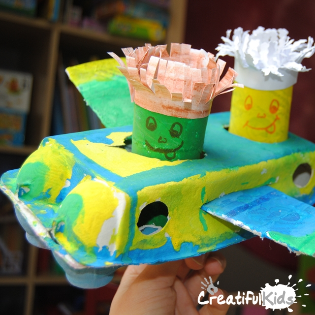 plane crafts from egg cartoon and toilet paper rolls
